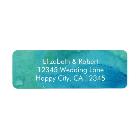 Eat, Drink, and Be Married Turquoise Wedding Return Address Label