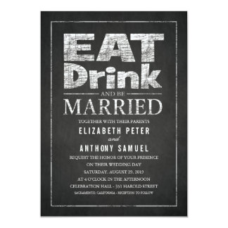 Eat Drink and Be Married Unique Creative Wedding Card
