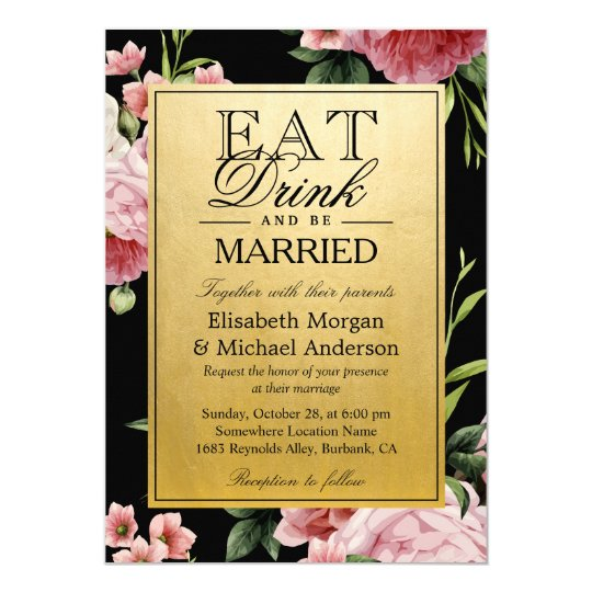 EAT Drink and Be Married Vintage Floral Gold