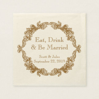 Eat, Drink and Be Married Vintage Wedding Napkins Paper Napkin
