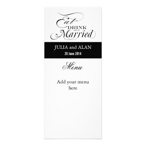 Eat, Drink, and Be Married Wedding Menu Cards Custom Announcement