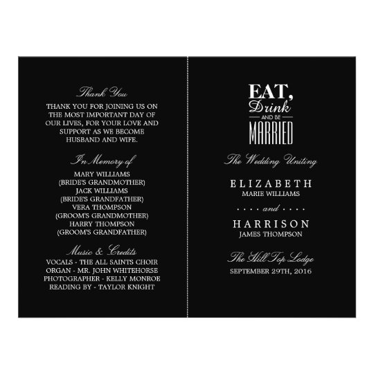 Eat, Drink and be Married Wedding Program Flyer