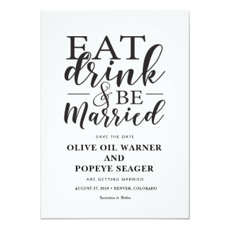 Eat Drink and Be Married Wedding Save the Date Card