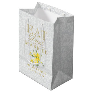 Eat, Drink and be Married - Yellow and White Medium Gift Bag