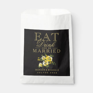Eat, Drink and be Married - Yellow Floral Favour Bags