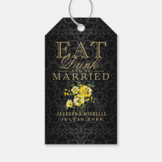 Eat, Drink and be Married - Yellow Floral Gift Tags
