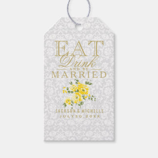 Eat, Drink and be Married - Yellow Gift Tags