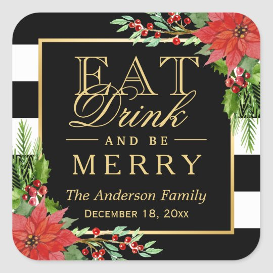 Eat Drink and Be Merry Christmas Gold Lettering