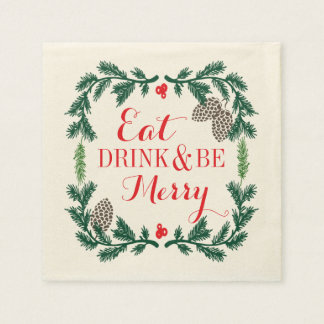 Eat Drink and Be Merry Holiday Paper Napkins Paper Napkin