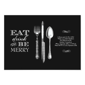 Eat, Drink and Be Merry | Invitation on Black