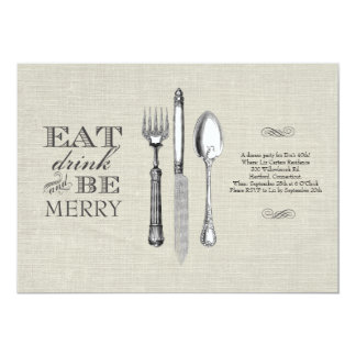 Eat, Drink and Be Merry | Invitation on Linen