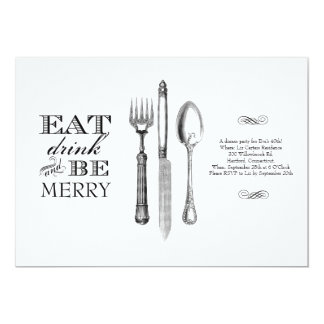 Eat, Drink and Be Merry | Invitation on White