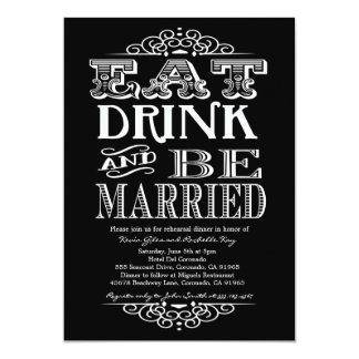 Eat Drink and Be Merry Rehearsal Dinner Invitation
