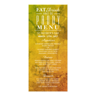 Eat, Drink and be Paddy St Patrick's Day Menu Personalized Rack Card