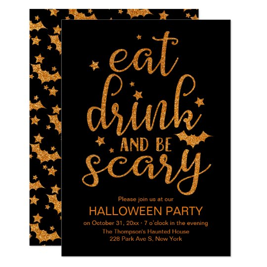Eat, Drink and Be Scary, Cute Glitter Halloween
