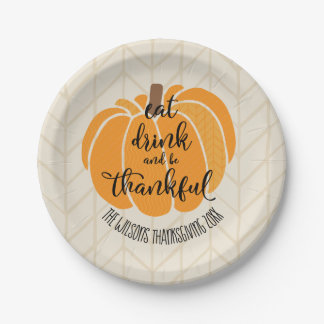 Eat, drink and be thankful paper plate