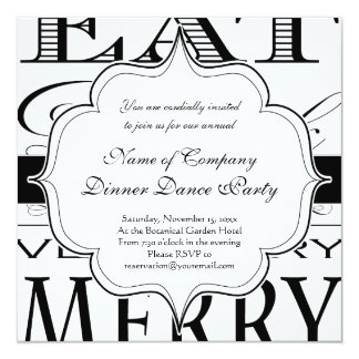 Eat Drink and Be Very Very Merry Elegant Design Card