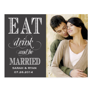 Eat Drink & Be Married Black Wedding Save the Date Postcard