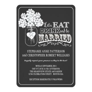 Eat, Drink & Be Married Chalkboard Style Wedding Card