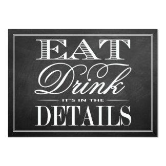 Eat, Drink & Be Married Chalkboard Wedding 11 Cm X 16 Cm Invitation Card