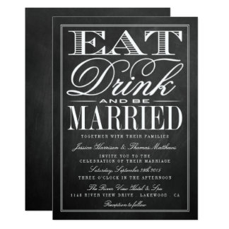 Eat, Drink & Be Married Chalkboard Wedding Card