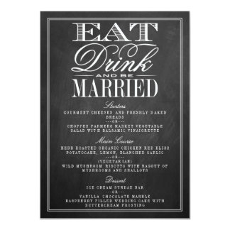Eat, Drink & Be Married Chalkboard Wedding Menus 11 Cm X 16 Cm Invitation Card