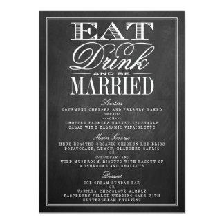 Eat, Drink & Be Married Chalkboard Wedding Menus Card