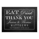 Eat, Drink & Be Married Chalkboard Wedding Note Card