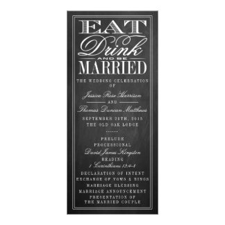 Eat, Drink & Be Married Chalkboard Wedding Rack Cards