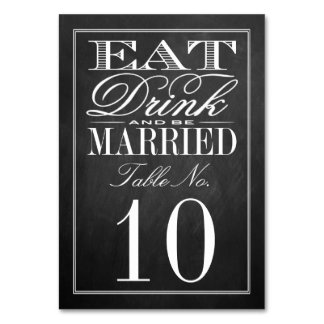 Eat, Drink & Be Married Chalkboard Wedding Table Cards