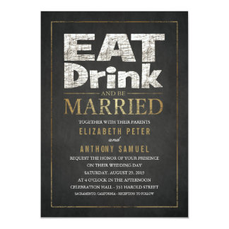Eat Drink Be Married Creative Gold Look Wedding Card