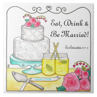 Eat, Drink & Be Married Customizable Wedding Tile