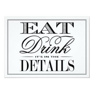 Eat, Drink & Be Married Modern Black/White Wedding 11 Cm X 16 Cm Invitation Card