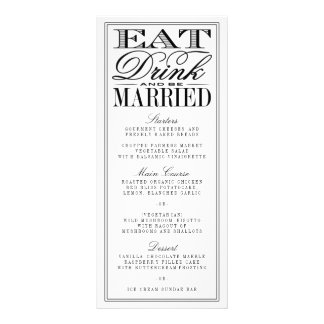 Eat, Drink & Be Married Modern Black/White Wedding Rack Card Design