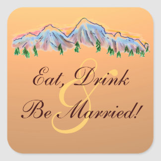 Eat Drink be Married mountain theme wedding labels Stickers