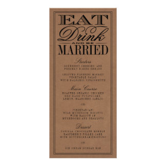 Eat, Drink & Be Married Rustic Kraft Wedding 10 Cm X 23 Cm Rack Card