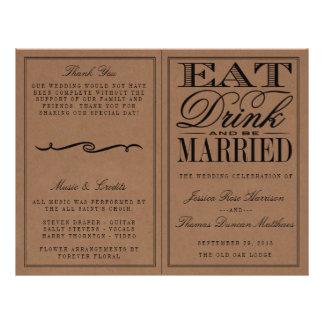 Eat, Drink & Be Married Rustic Kraft Wedding 21.5 Cm X 28 Cm Flyer