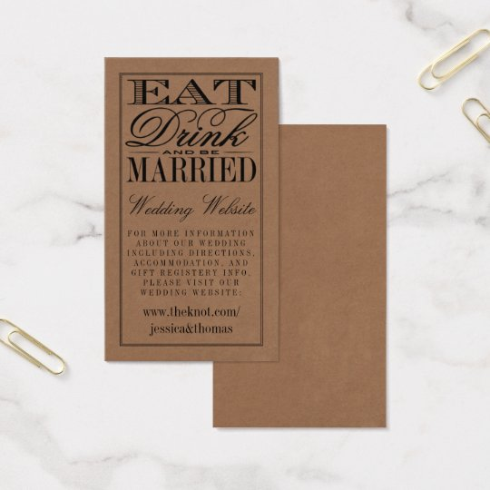 Eat, Drink & Be Married Rustic Kraft Wedding Business Card