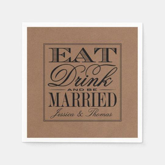 Eat, Drink & Be Married Rustic Kraft Wedding