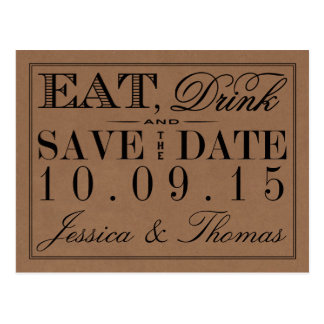 Eat, Drink & Be Married Rustic Kraft Wedding Postcard