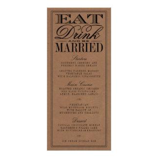 Eat, Drink & Be Married Rustic Kraft Wedding 10 Cm X 23 Cm Rack Card