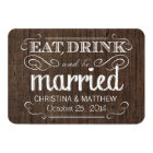 Eat Drink be Married Rustic Wood Rounded RSVP Card