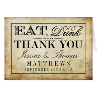Eat, Drink & Be Married Vintage Wedding Card