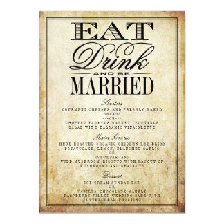 Eat, Drink & Be Married Vintage Wedding Menus Card