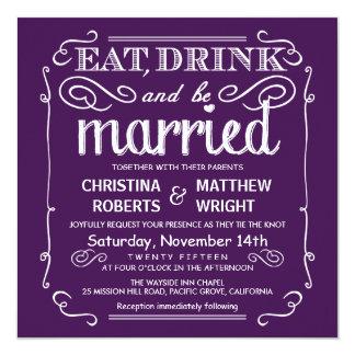 Eat Drink be Married Wedding Invites - Eggplant