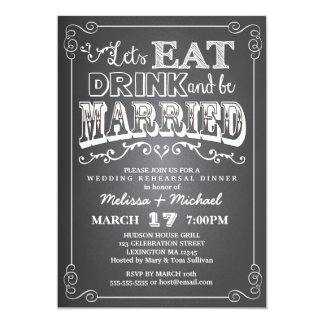 Eat, Drink & Be Married Wedding Rehearsal Dinner 13 Cm X 18 Cm Invitation Card