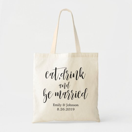 eat,drink & be married wedding welcome gift tote bag