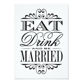 Eat, Drink & Be Married - White Wedding Sign 13 Cm X 18 Cm Invitation Card