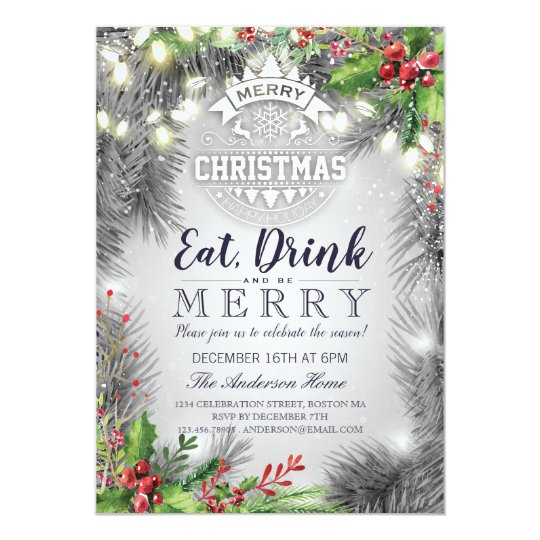 Eat Drink Be Merry Christmas Holiday Dinner Party