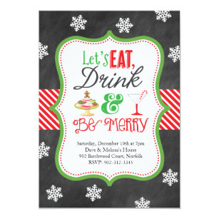 Christmas party invitations zazzle uk eat drink be merry christmas party invitation stopboris Image collections